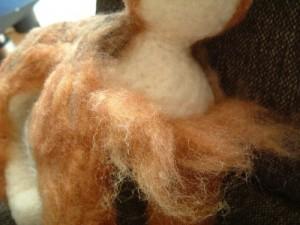羊毛フェルトでリアル猫作成 植毛2
