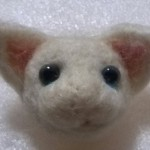 20140505 羊毛フェルトの白猫 ブルーアイ