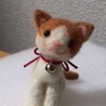 20140716 羊毛フェルト おすわり茶ぶち猫