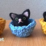 羊毛フェルト猫マスコット 3種(黒猫2、三毛猫1)