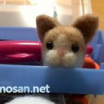 オークションに出品しました 羊毛フェルト ハチワレ猫(薄茶)マスコット