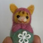 猫マトリョーシカ(ピンク×グリーン)